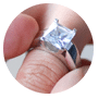 Engagement Ring with large solitaire diamond