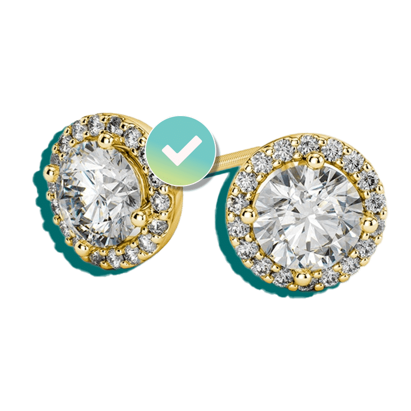 Diamond and yellow gold earrings insured by BriteCo Jewelry Insurance
