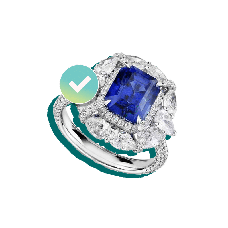 Blue Sapphire engagement ring insured by BriteCo Jewelry Insurance