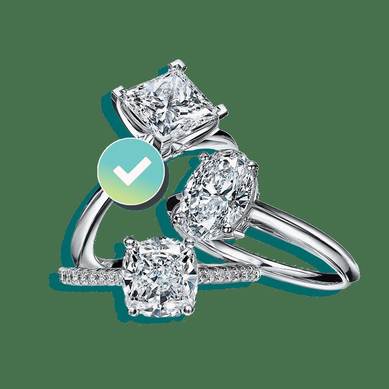 Three Diamound engagement rings insured by BriteCo Jewelry Insurance