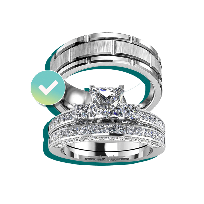 Men's and Women engagement ring and wedding bands insured by BriteCo Jewelry Insurance