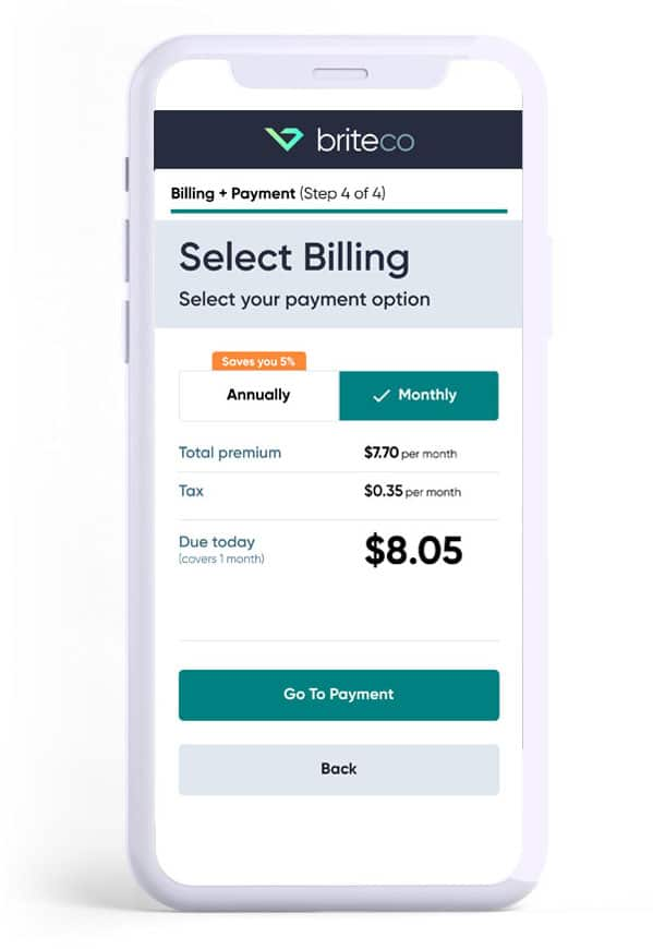 Example of Monthly pay option for Jewelry insurance on a mobile phone