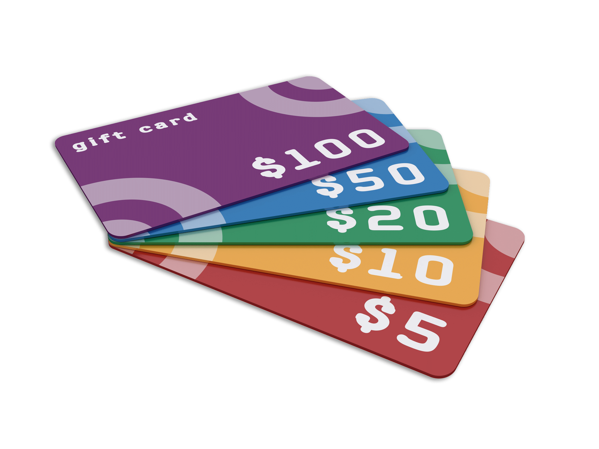 Stack of Gift Cards ranging from 5 to 100 dollars that can be earned via the BriteCo Rewards program