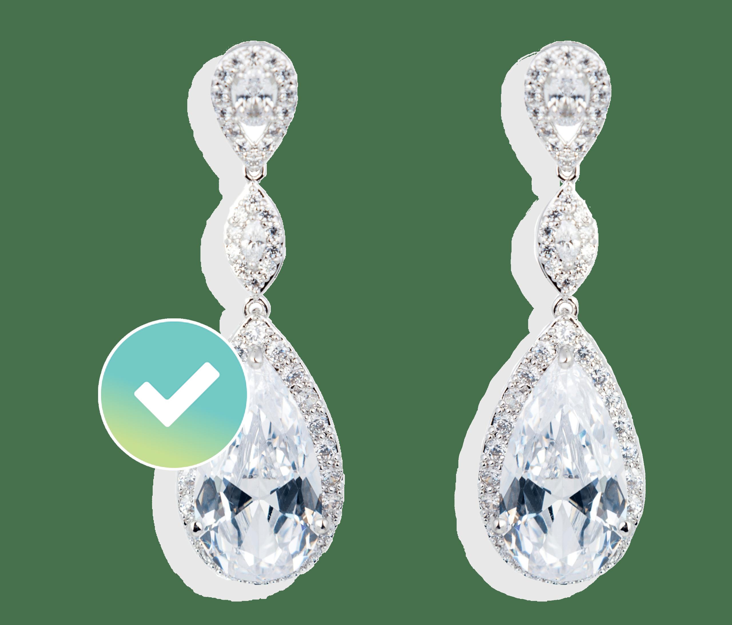 Tear drop diamond earrings insured by BriteCo Jewelery Insurance