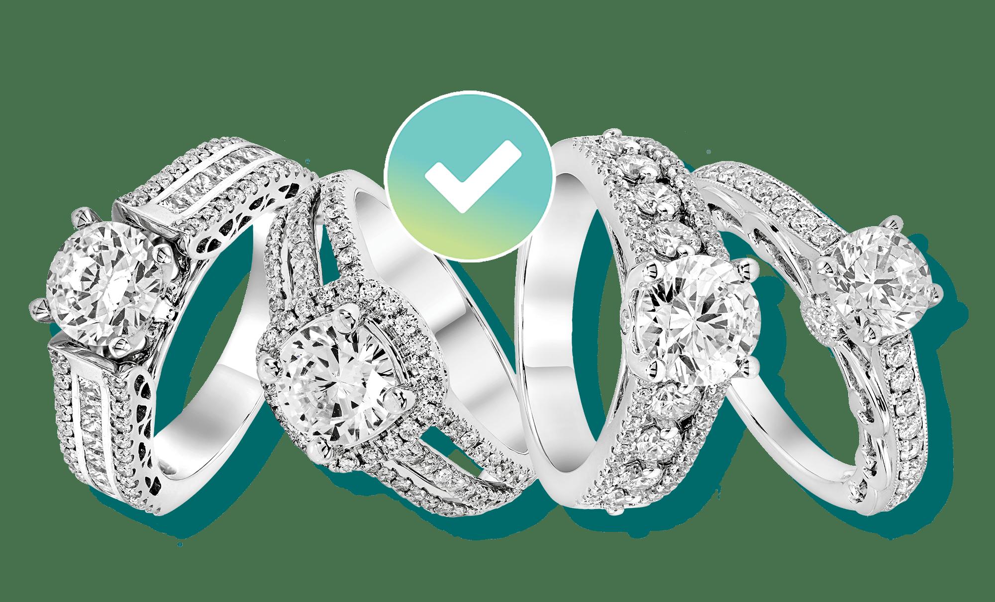 Four diamond engagement rings insured by BriteCo Jewelry Insurance